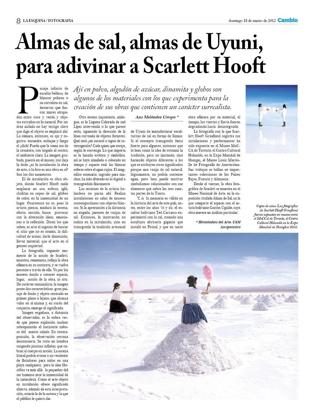 Land Art. Almas de sal, almas de Uyuni, para adivinar a Scarlet Hooft