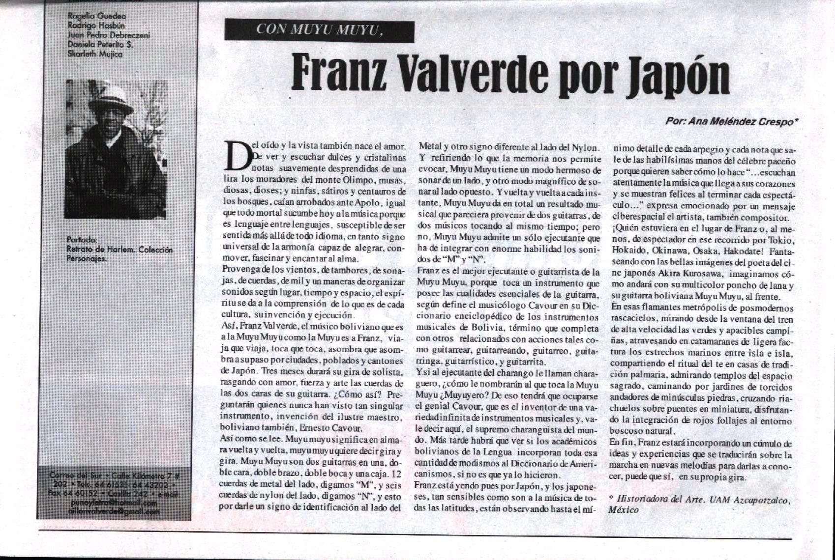 Con Muyu Muyu, Franz Valverde por Japón