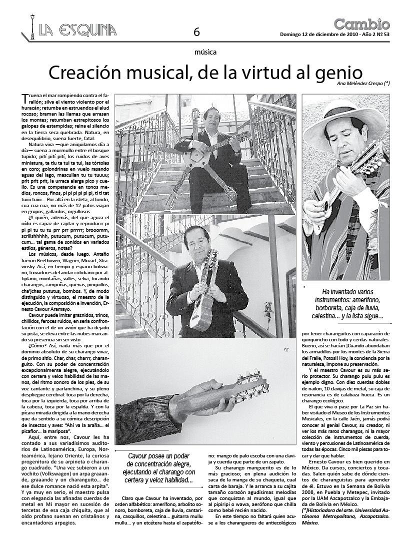 Creación musical de la virtud al genio. Ernesto Cavour