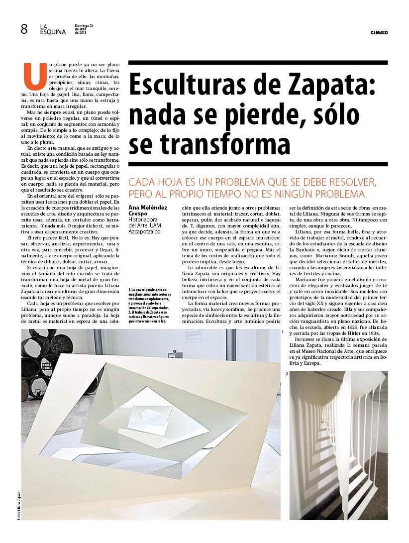 Esculturas de Zapata, nada se pierde, sólo se transforma