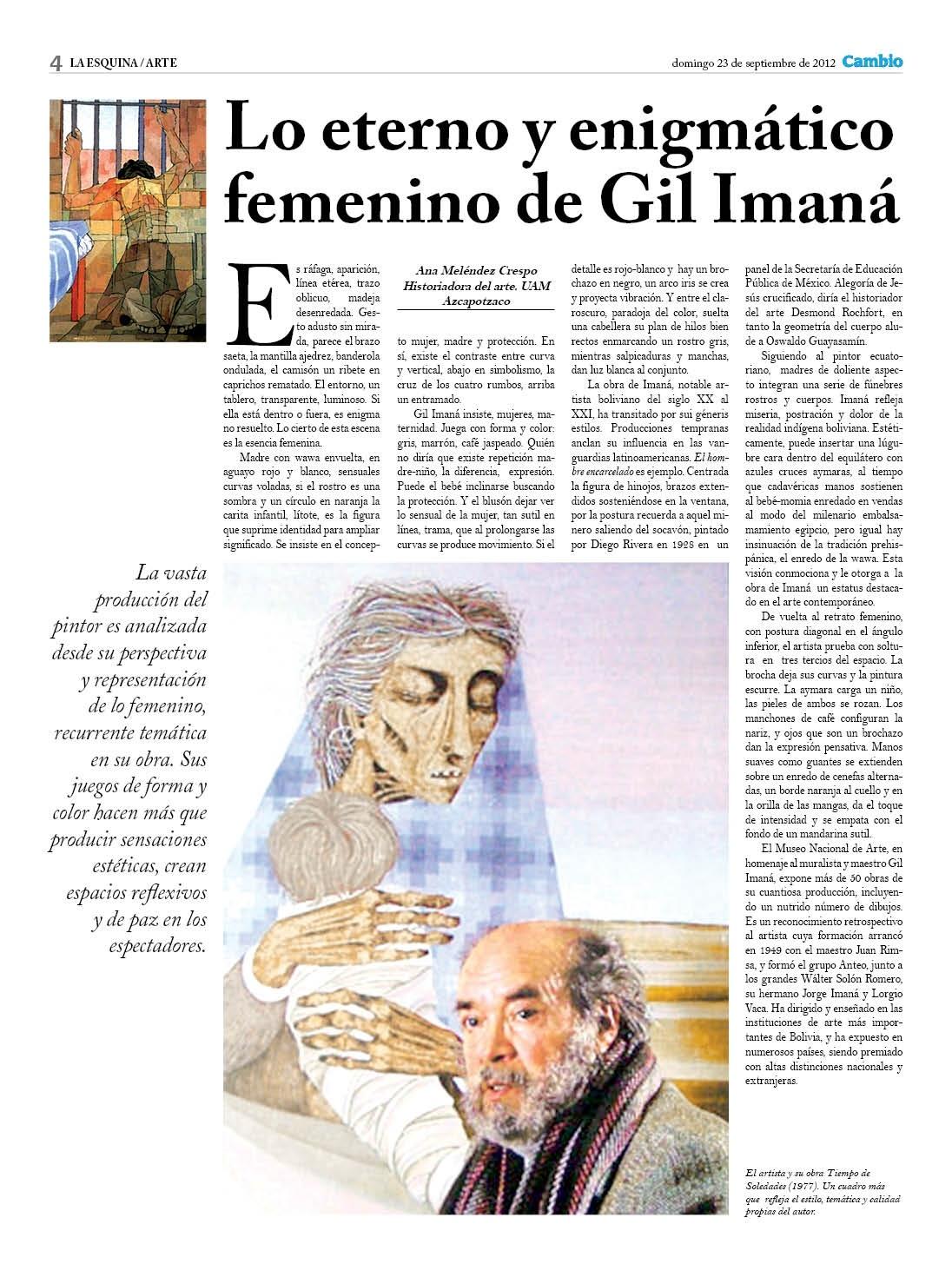 Lo eterno y enigmatico de Gil Imaná