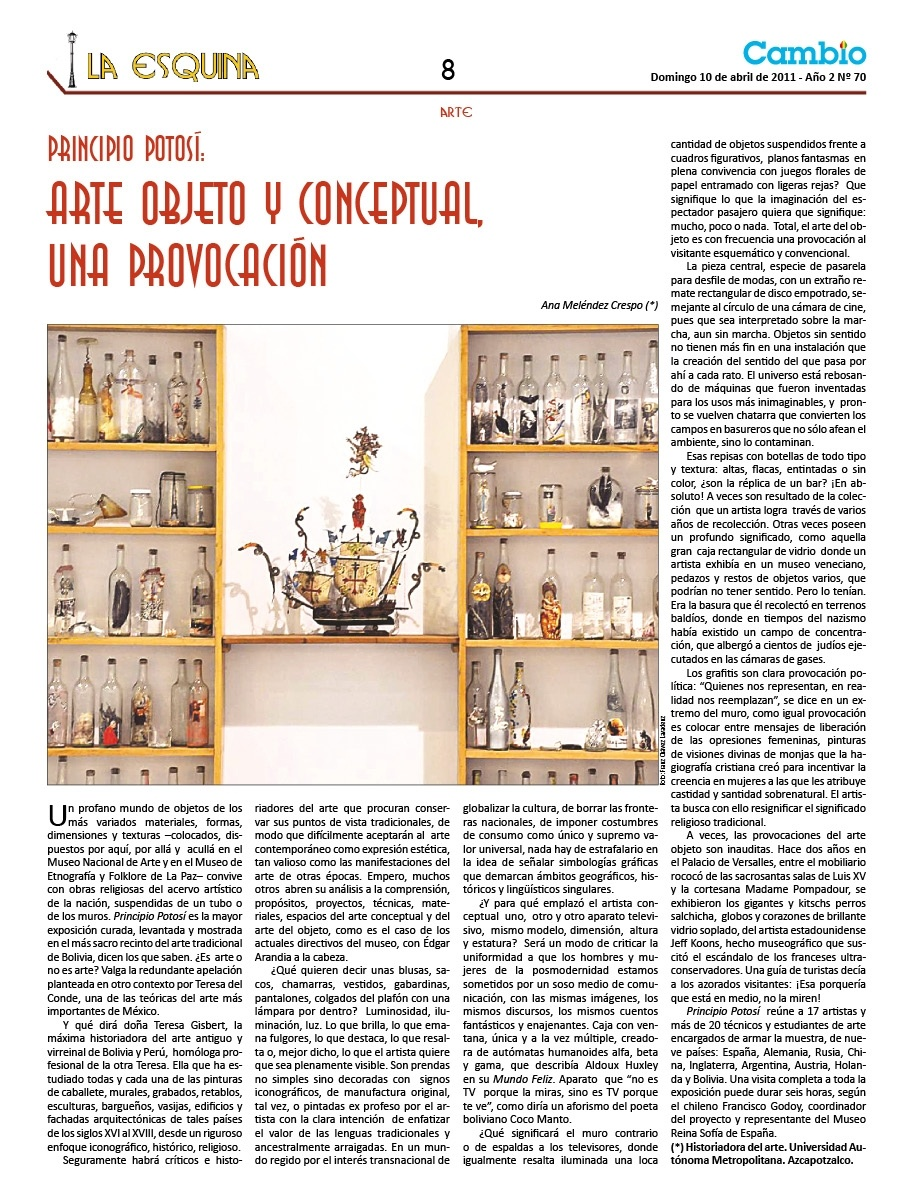 Principio Potosí, arte objeto y conceptual, una provocación
