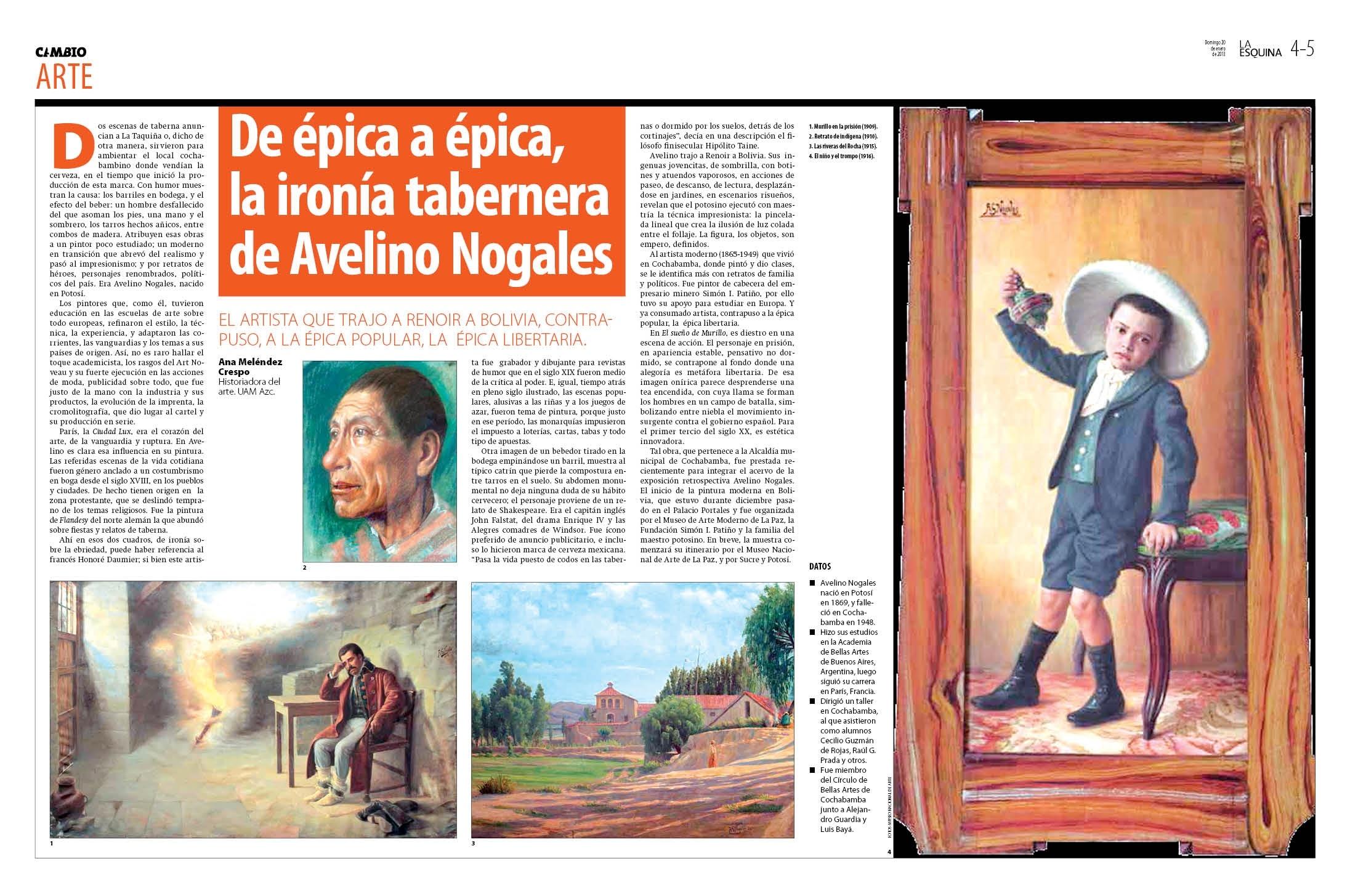 De épica épica, la ironía tabernera de Avelino Nogales