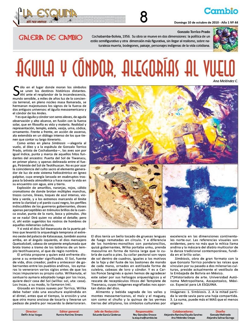 Águila y Cóndor, alegorías al vuelo, Gonzalo Torrico