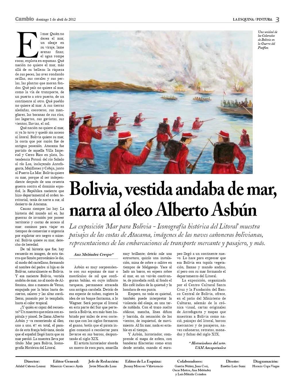 Bolivia, vestida andaba de mar, narra el oleo Alberto Ausbún