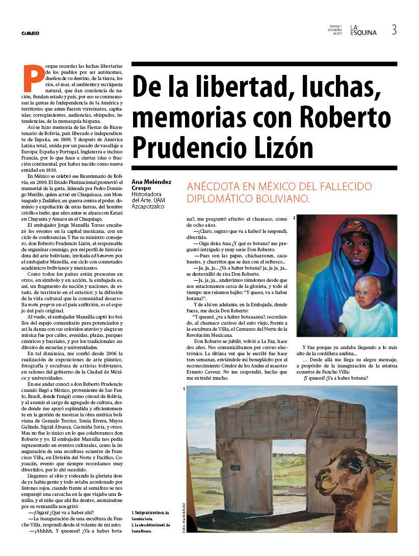 Crónica y memoria con don Roberto Prudencio