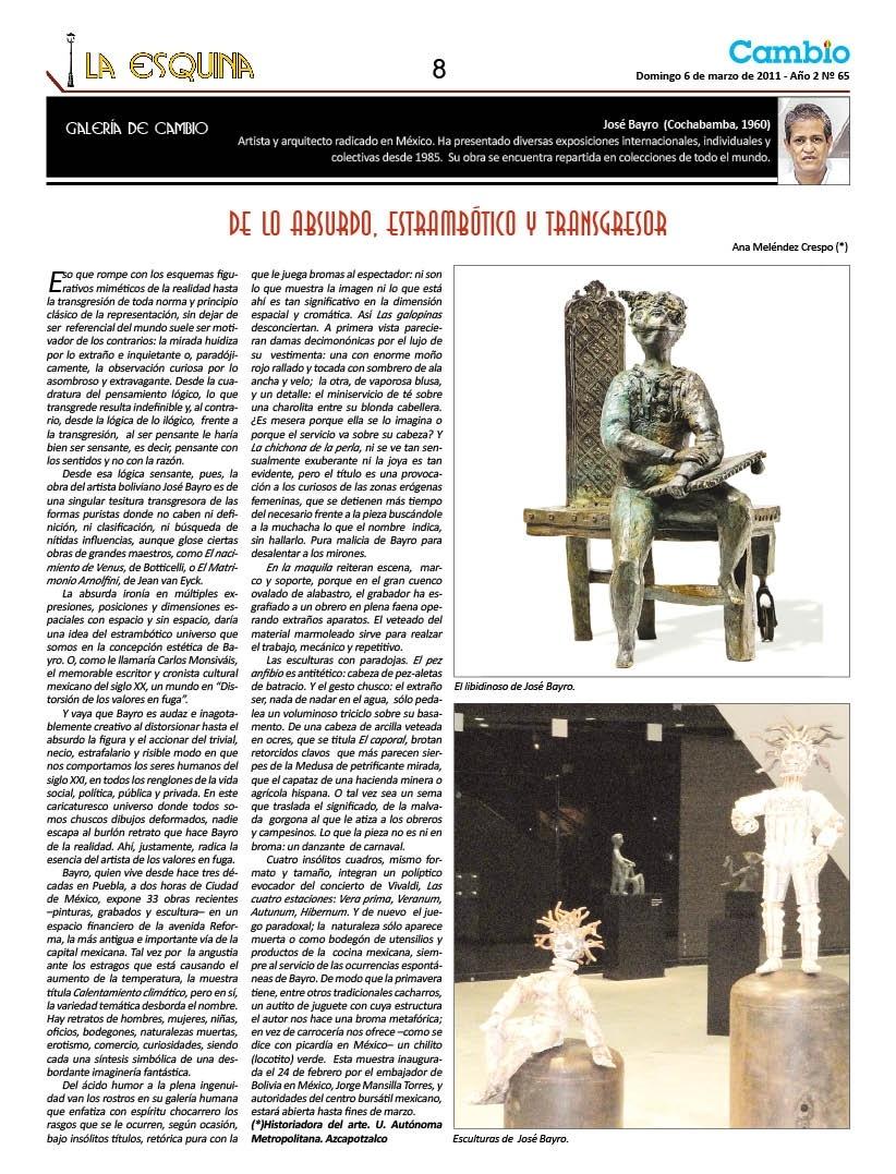 De lo absurdo, estrambótico y transgresor. José Bayro