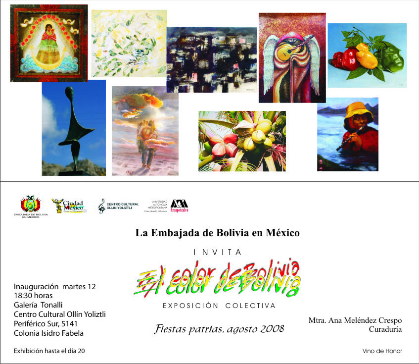 Invitación a Expo El color de Bolivia 2008