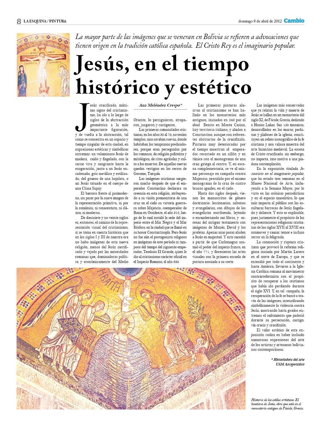 Jesús en el tiempo histórico y estético