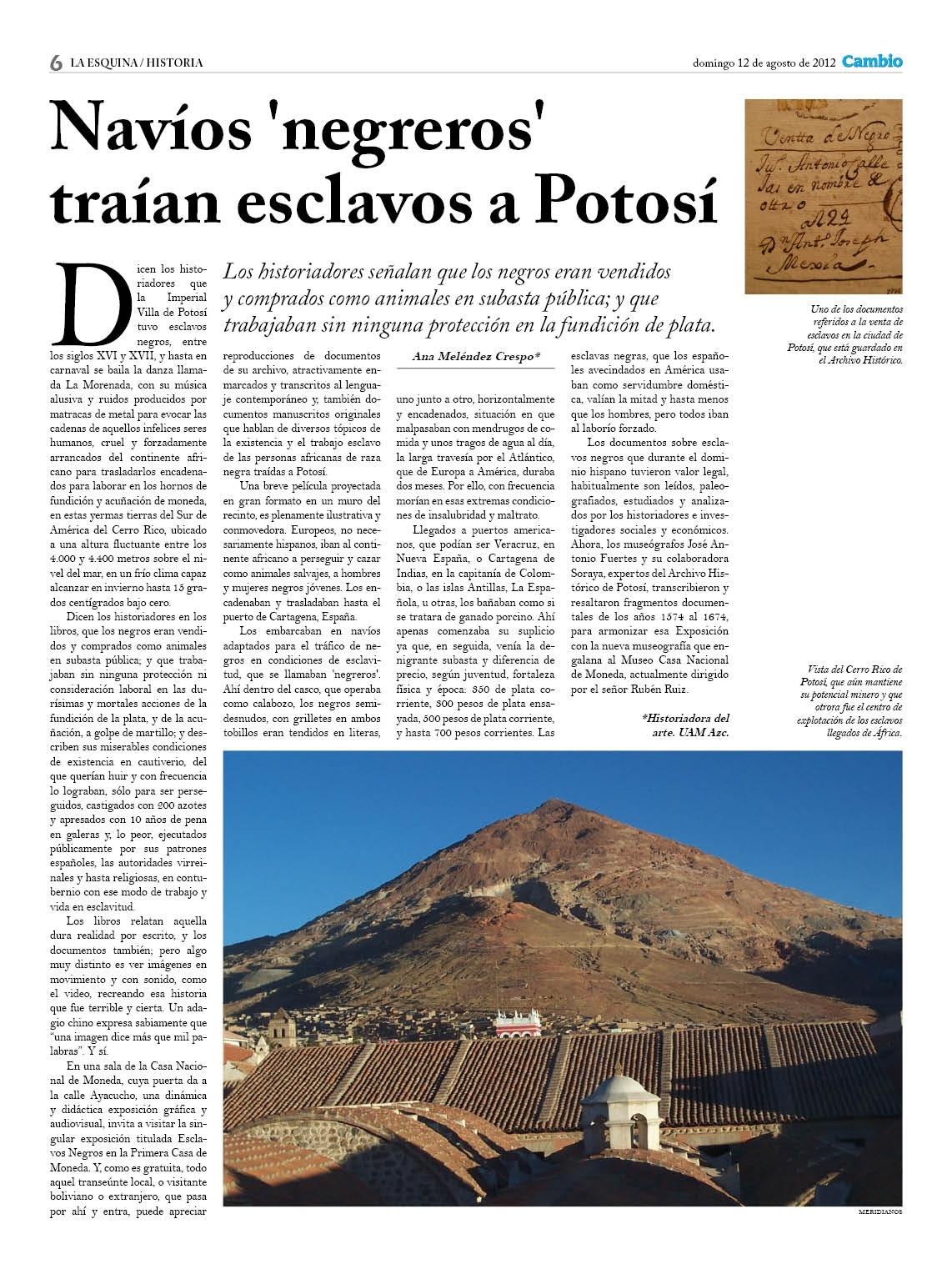 Navíos negreros traían esclavos a Potosí