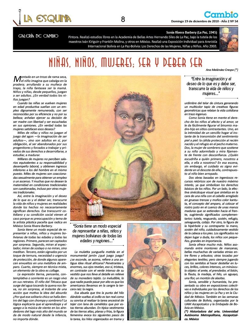 Niñas, niños y mujeres; ser y deber ser Sonia Rivera