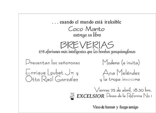 Invitación libro Breverias en Excelsior 25 abril 2003